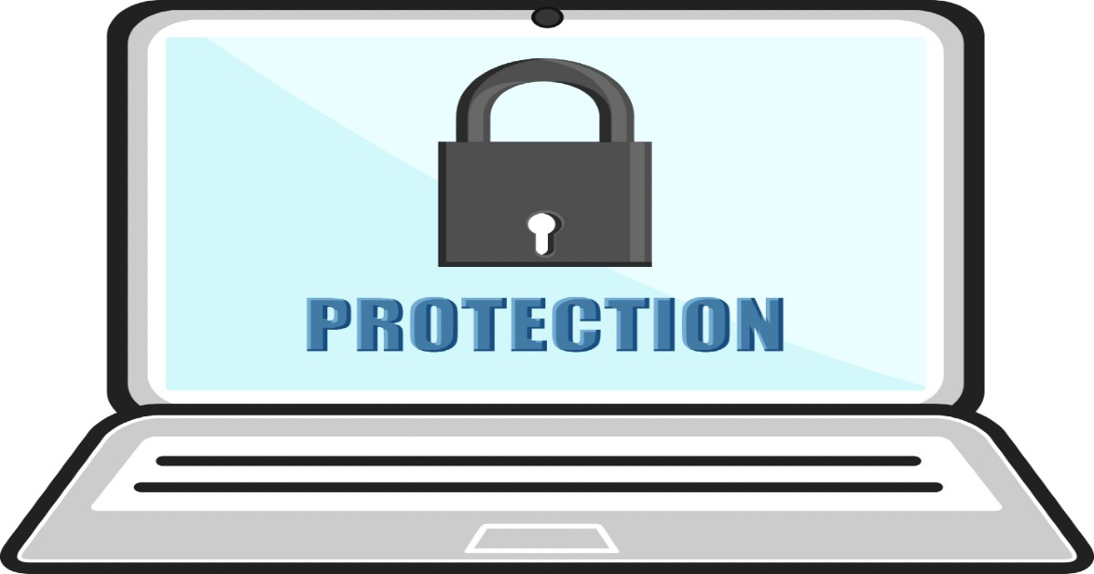Laptop computer screen showing a padlock with the word protection underneath